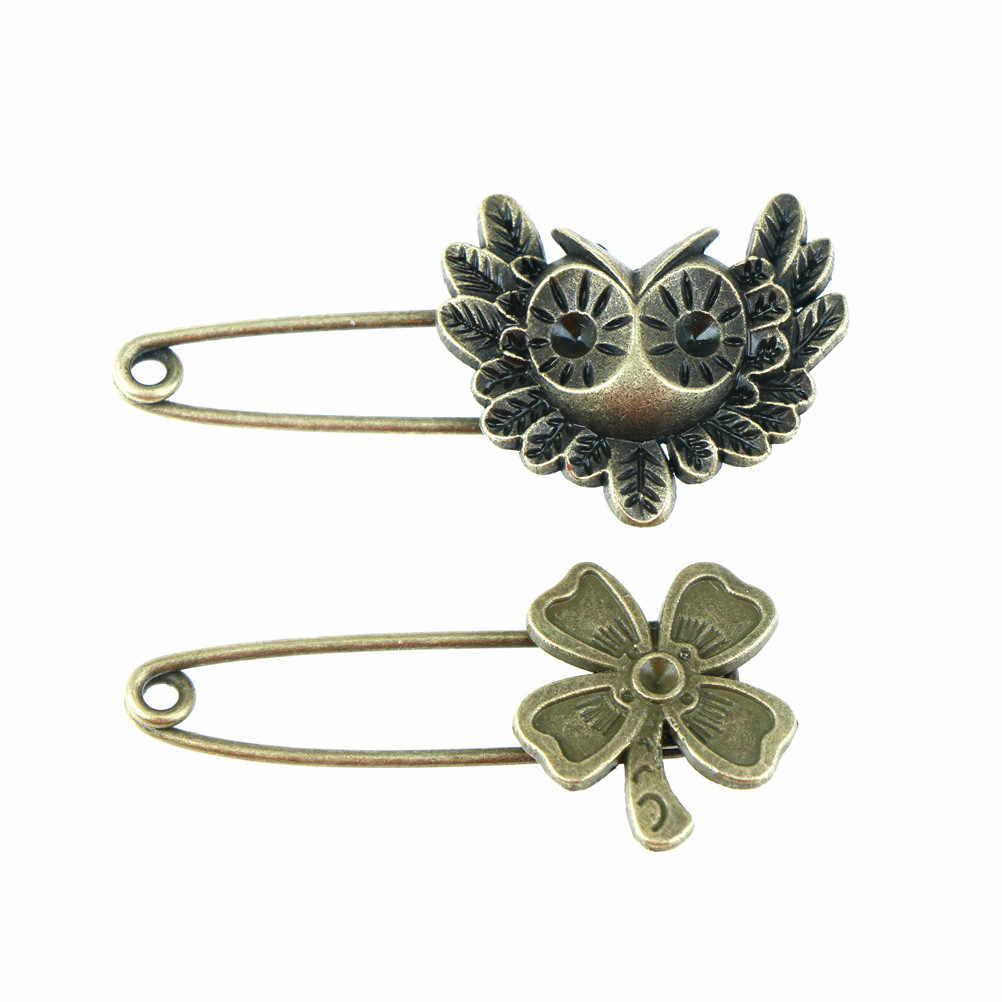 Mode owl bentuk keselamatan pins vintage pin bros ornamen untuk syal panjang sweather mantel tas