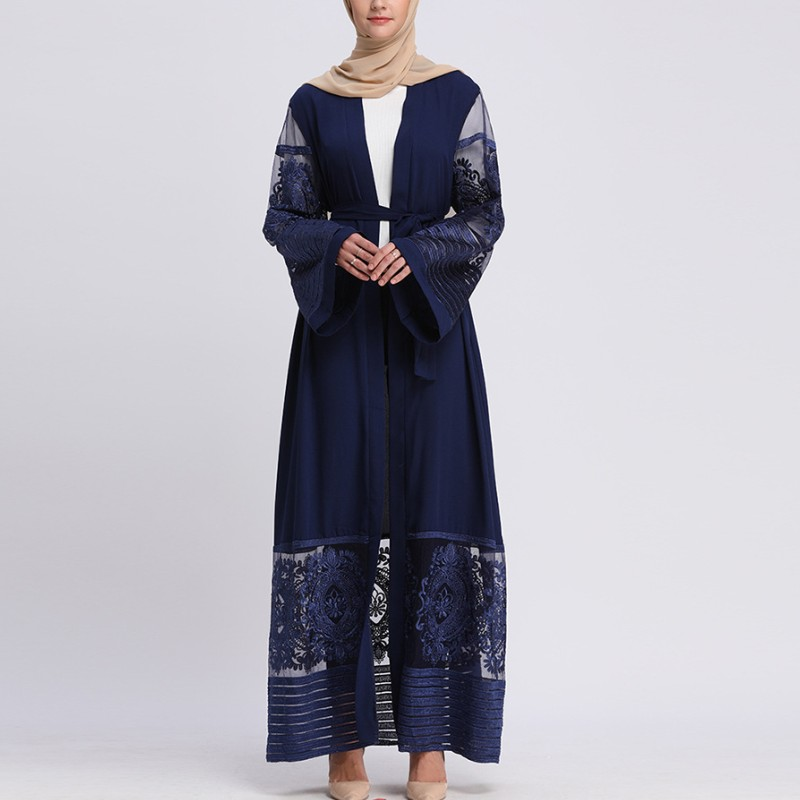 Embroidery Lace Dubai Fashion Maxi Dress Meah Long Sleeve Abaya Ethnic Clothing Women Dresses Spring Autumn Wear YLR145