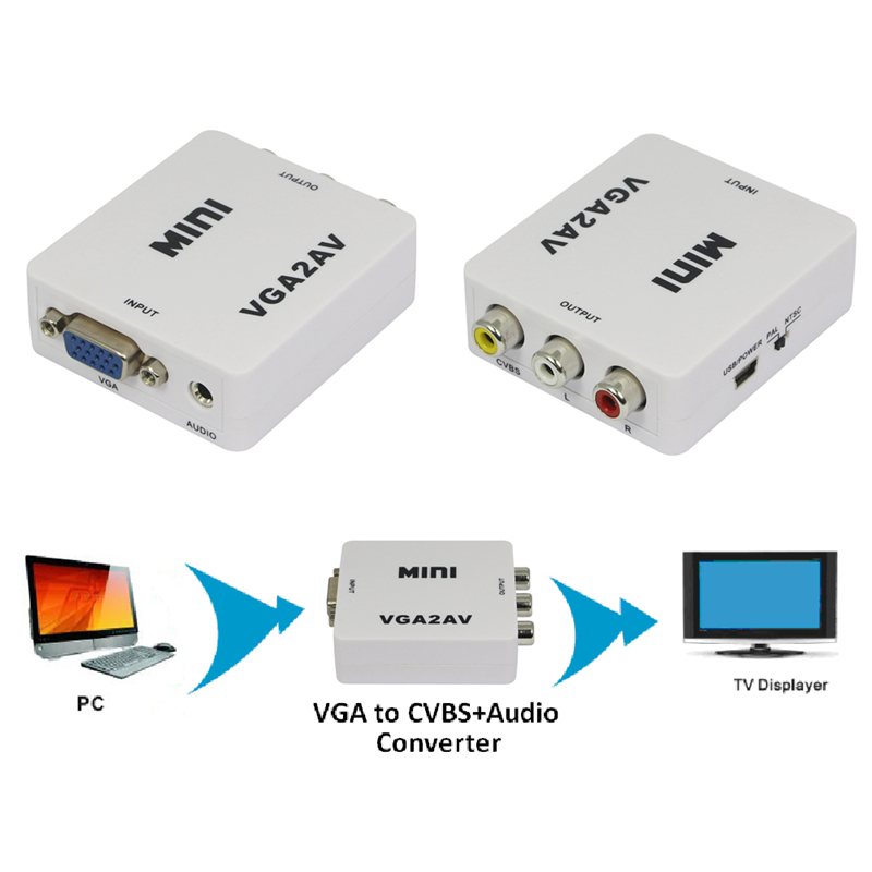 1pcs Mini Composite Video AV S-Video RCA to PC Laptop VGA TV Converter Adapter Box Connector New Promotion vga svga to s video 3 rca av tv out cable adapter converter pc computer laptop