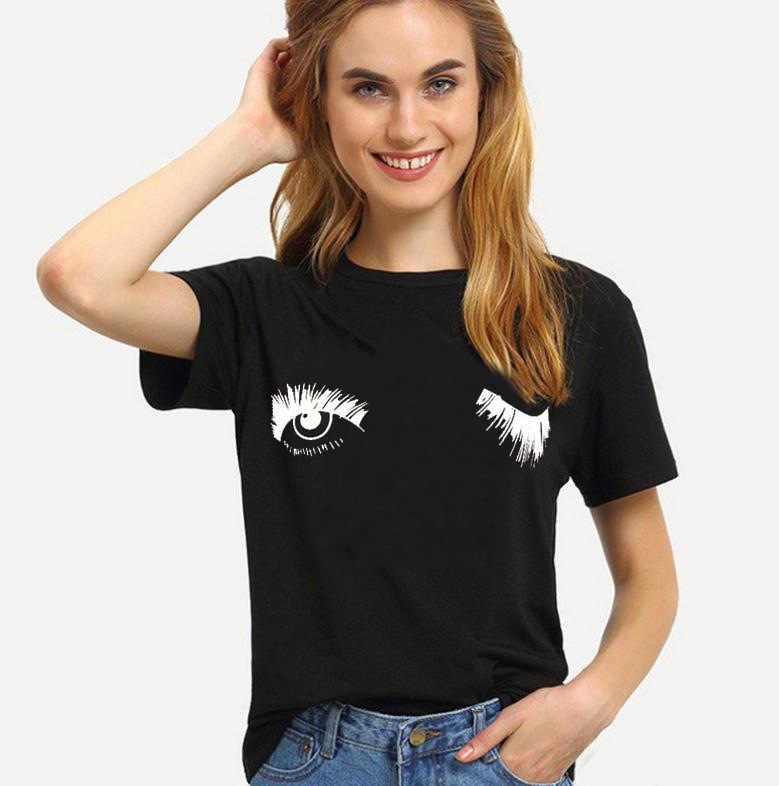 Футболка с принтом «Blink Eyes», женская футболка с коротким рукавом и круглым вырезом, свободная футболка, лето 2019, женская футболка, топы, Camisetas Mujer