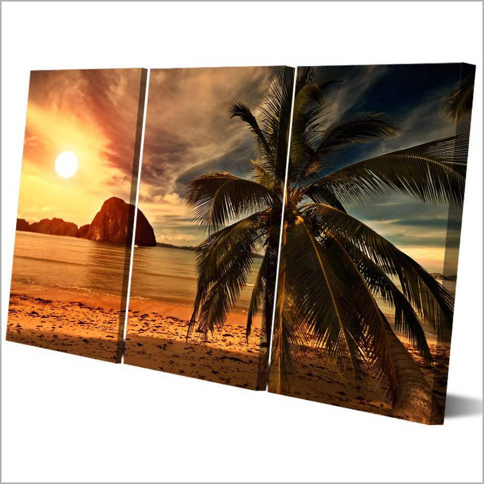 HD printed 3 piece Sunset Beach Coconut Trees Modular Wall Paintings Canvas Home Decor Posters and Prints Free Shipping MH6787