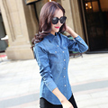 Hot Sale Women Spring Winter 2017 Blusa Jeans Long Sleeve Fashion Jeans Shirt Women Blue Shirt Tops For Women Denim Blouse