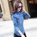 Venta caliente Mujeres Invierno Primavera 2017 Blusa Jeans de Manga Larga Jeans de moda Camisa de Las Mujeres Camisa Azul Tops Para Mujeres Denim blusa