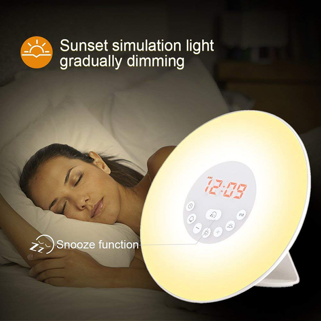 Touch Sensing Digital Alarm Clock Sunrise Sunset LED Time Display Morning Wake Up Lights With FM Radio Desktop Beside Night Lamp