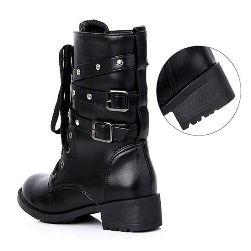 b10570d43eb ... Plus Size Women Boots Military Boots Women High Boots Low Heel Gothic  Shoes Black Buckle Ladies ...