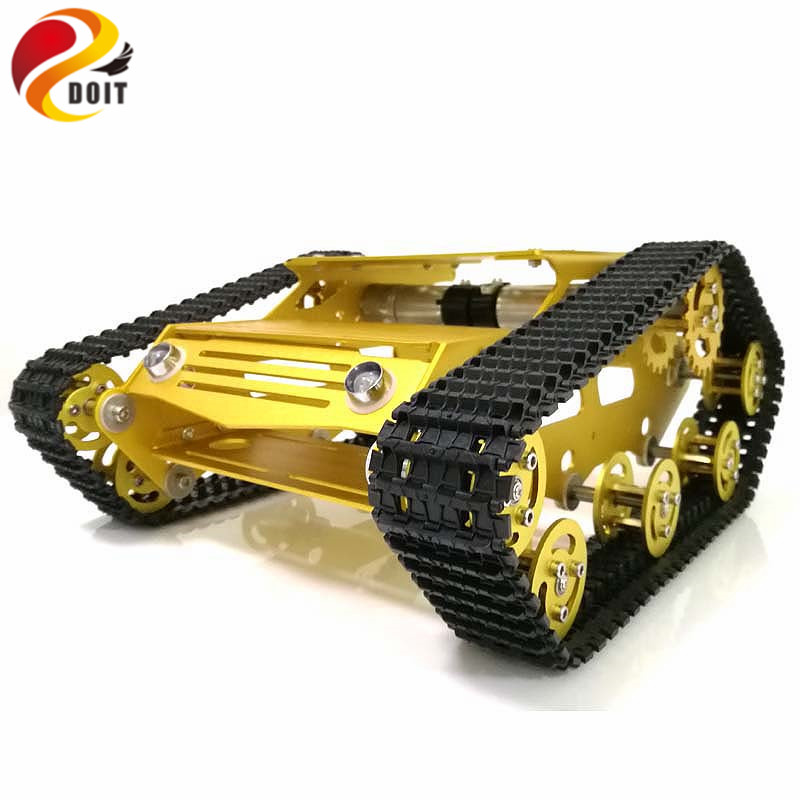DOIT Y100 Robot Tracked Tank Car Chassis with Aluminium Alloy Frame and Wheel for Robot Education Modification DIY Tank Model RC diy tracked robot frame model 7 dof abb manipulator tk3a tracked chassis with motor servo control board and xd 229 auno r3