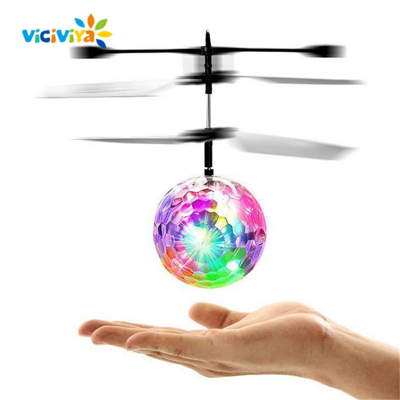 VICIVIYA Colorful Mini Drone Shinning LED RC Flying Ball Helicopter Sense Light Crystal Ball Induction Toys for Children Kids