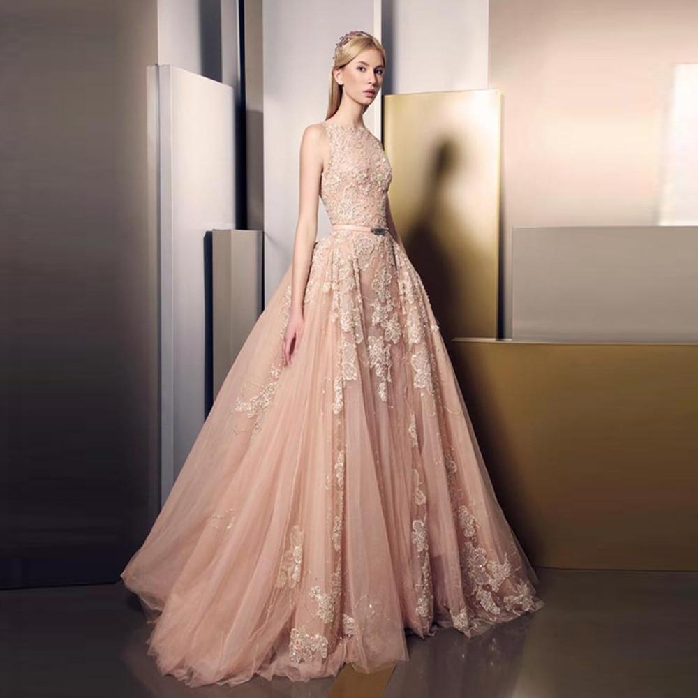 charming lace appliques long evening dresses 2017 peach
