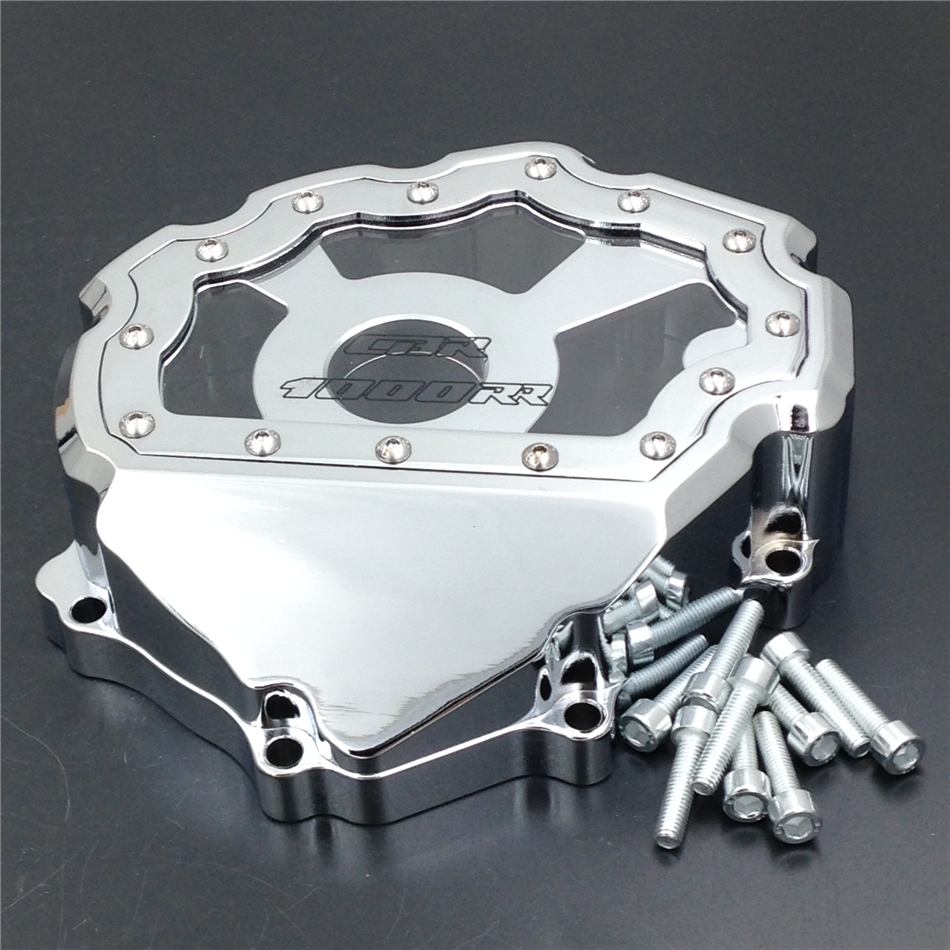 Aftermarket Free Shipping Motorcycle Parts  Engine Stator Cover see through  for Honda CBR1000RR 2008-2013 CHROME Left side aftermarket free shipping motorcycle parts billet engine stator cover for honda cbr600rr f5 2007 2012 chrome left