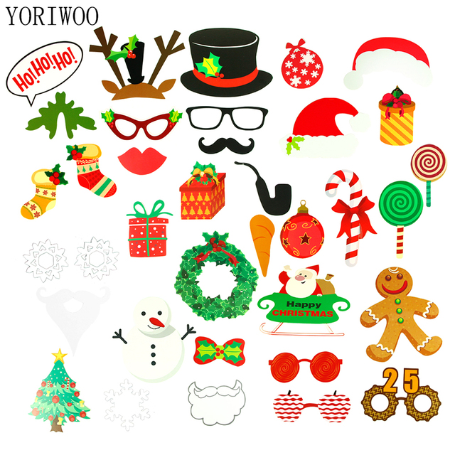 YORIWOO PhotoBooth Props Merry Christmas Decorations Funny Mask ...