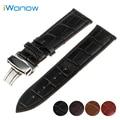 Couro genuíno faixa de relógio 18mm para huawei watch/fit honor s1 inoxidável butterfly fivela correia de pulso pulseira cinto + primavera Bar