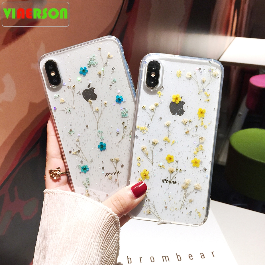 Real Flowers Dried Flowers Transparent Soft TPU Cover For iPhone X 6 6S 7 8 plus Phone Case For iphone XR XS Max Cover Coque