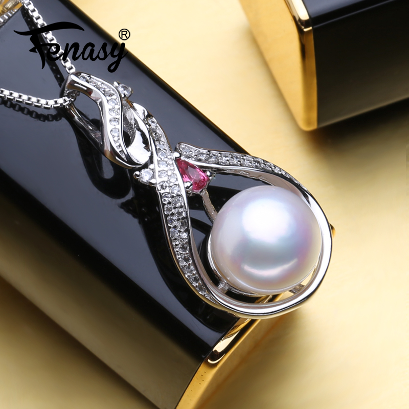 FENASY Pendant Necklace Ruby Pearl Natural-Freshwater-Pearl 925-Sterling-Silver Women