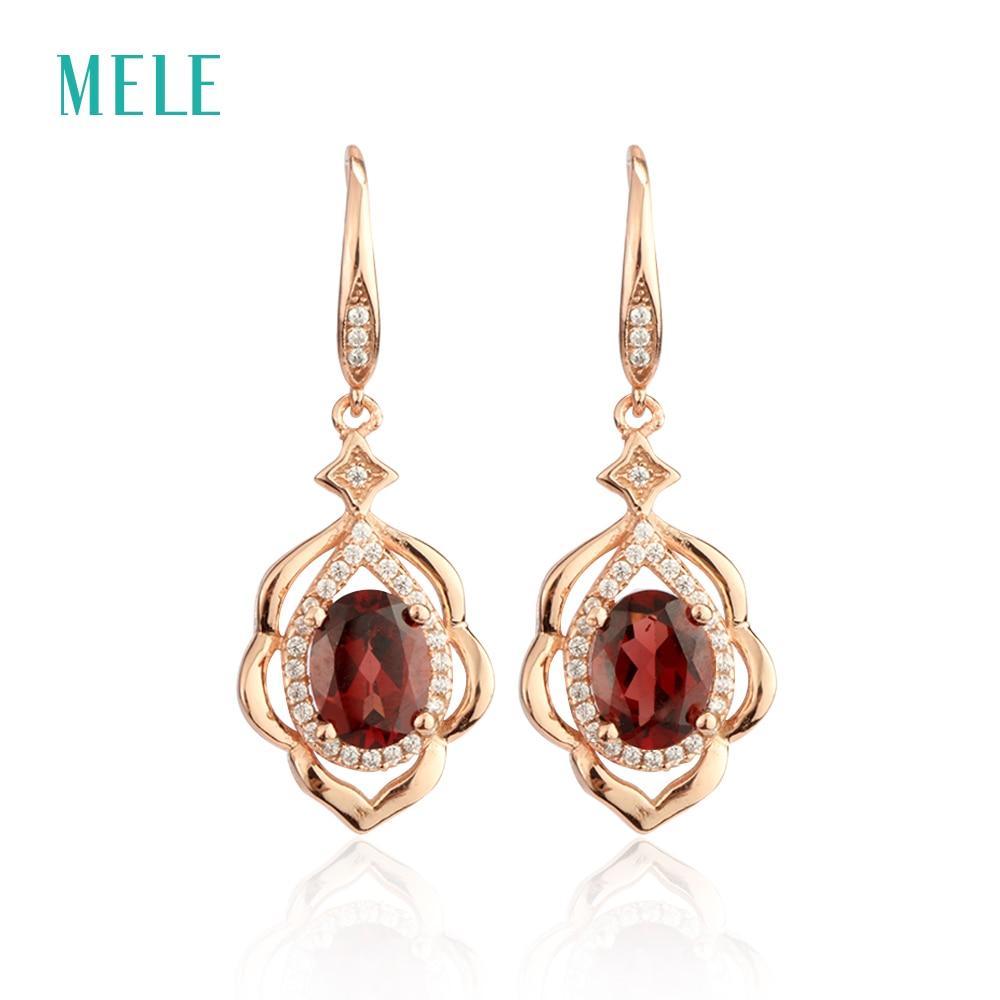 Vereinigt Mele Natürliche Rote Granat Silber Ohrring Oval 6mm * 8mm Schöne Und Romantische Stil Für Damen Attraktives Aussehen Blume Form