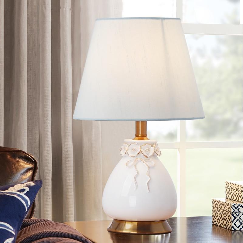 YOOK галстук-бабочка Керамика настольные лампы для Спальня Гостиная теплый свет ночники Новый китайский цветок розы Керамика настольная лам...