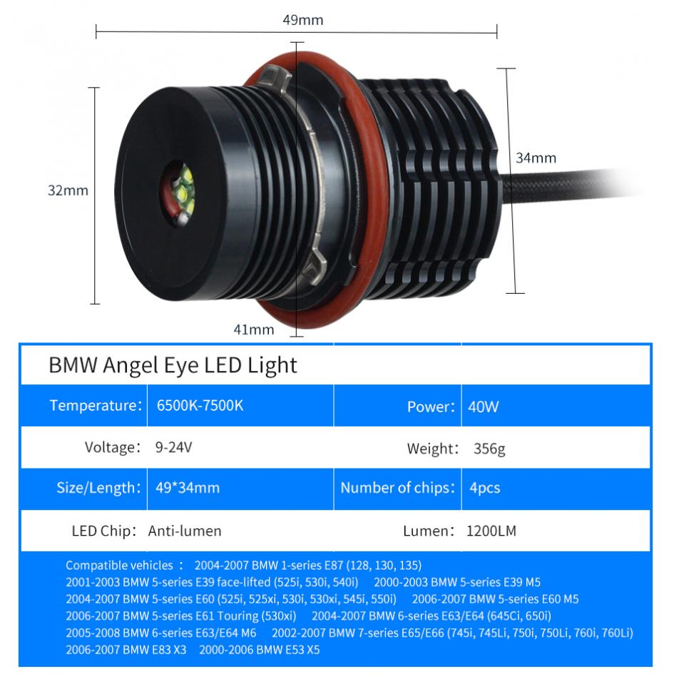 2×40W LED Angel Eyes Car LED Halo Ring Marker Bulbs Light 6500K 7500K White Error Free Fit for BMW E39 E60 in Car Headlight Bulbs LED from Automobiles Motorcycles