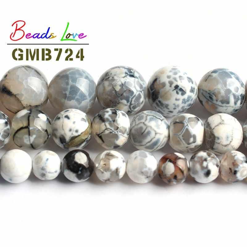 Bán buôn Trắng Lửa Mã Não Đá Onyx Vòng Loose Beads đối với Trang Sức Làm Diy Vòng Đeo Tay Đồ Trang Sức Vòng Cổ 6 8 10 mét 15 inch