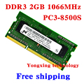 Пожизненная гарантия для микрон DDR3 2 ГБ 1066 мГц PC3-8500S DDR 3 2 г портативный ноутбук памяти первоначально 204PIN SODIMM