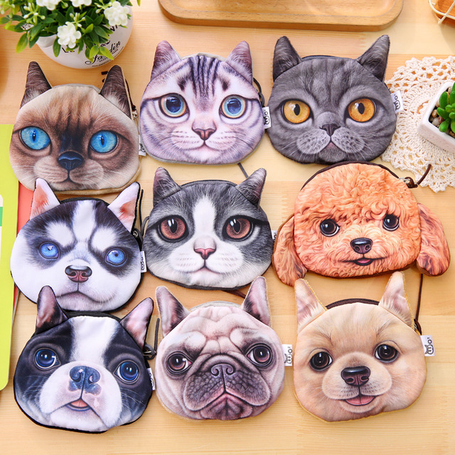3D girl wallet bag ladies face zipper mini cat coin purses dog children's purse plush bolsa de moeda coins pouch monedero gato