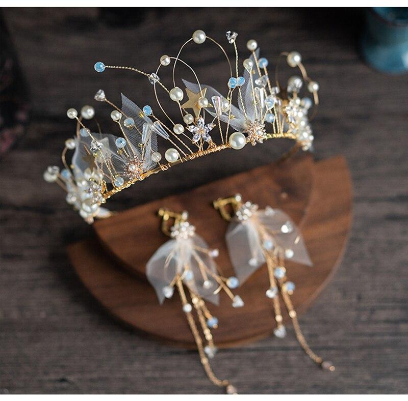 HIMSTORY Sweet Handmade Silk Yarn Wedding Tiara Crowns with Earring Pearls Star Beads Bride Headbands Hair Jewelry in Hair Jewelry from Jewelry Accessories