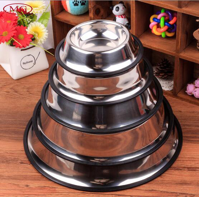 stainless steel dog bowls pet food storage container nonskid multisize for small