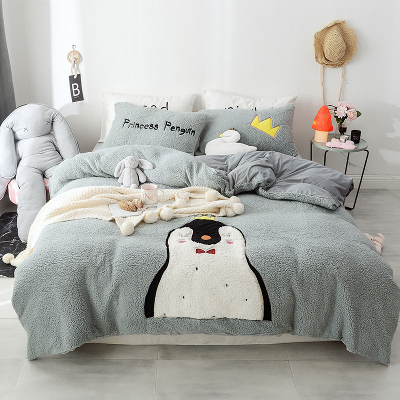 New Cartoon Penguin Dinosaur Rabbit Unicorn Embroidery Fleece Fabric Child Bedding Set Flannel Duvet Cover Bed sheet Pillowcases