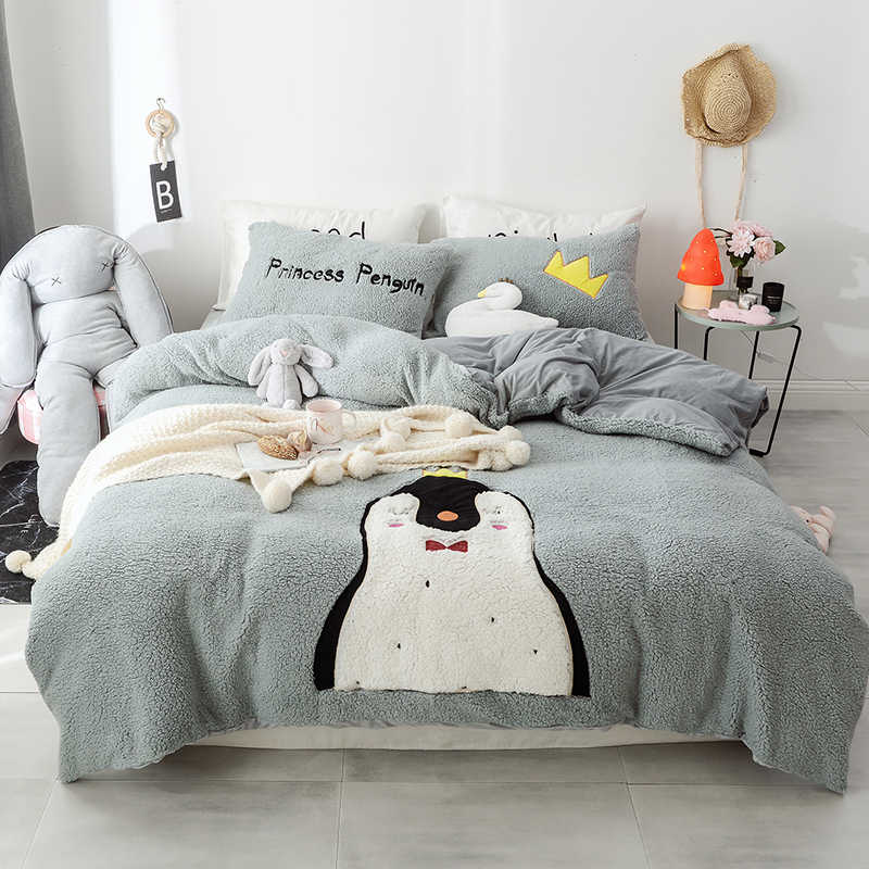 New Cartoon Penguin Dinosaur Rabbit Unicorn Embroidery Fleece Fabric Child Bedding Set Flannel Duvet Cover Bed Sheet Pillowcases Bedding Sets Aliexpress