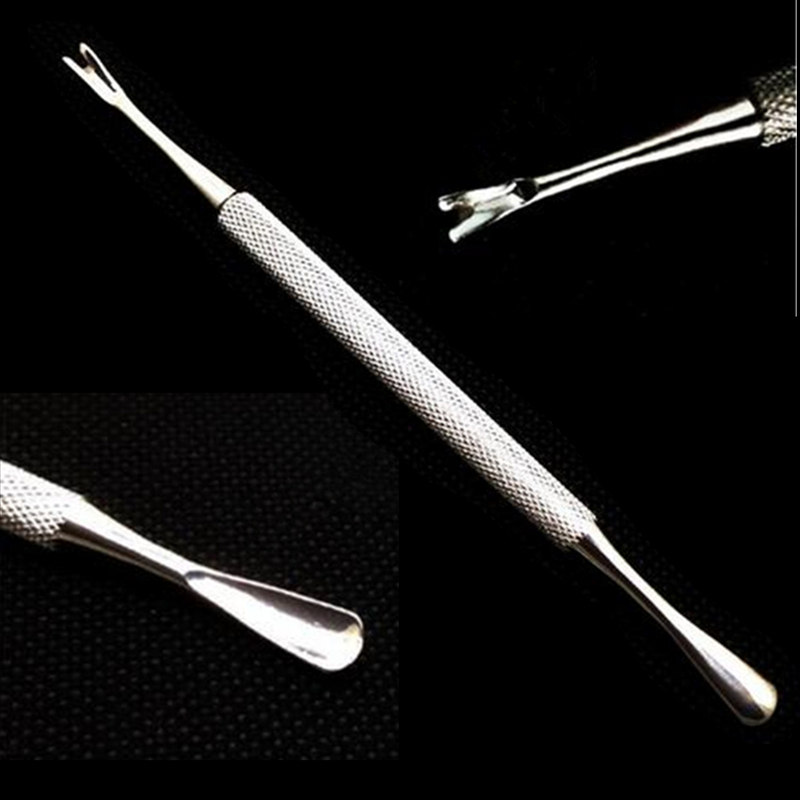 Stainless Steel Cuticle Pusher Remover Spoon Trimmer Metal Double Sided Finger Dead Skin Push Nail Art Manicure Pedicure Tool full beuaty nail cuticle pusher spoon fork knife push cutter remover dead skin nail art salon manicure pedicure tools ch1 9