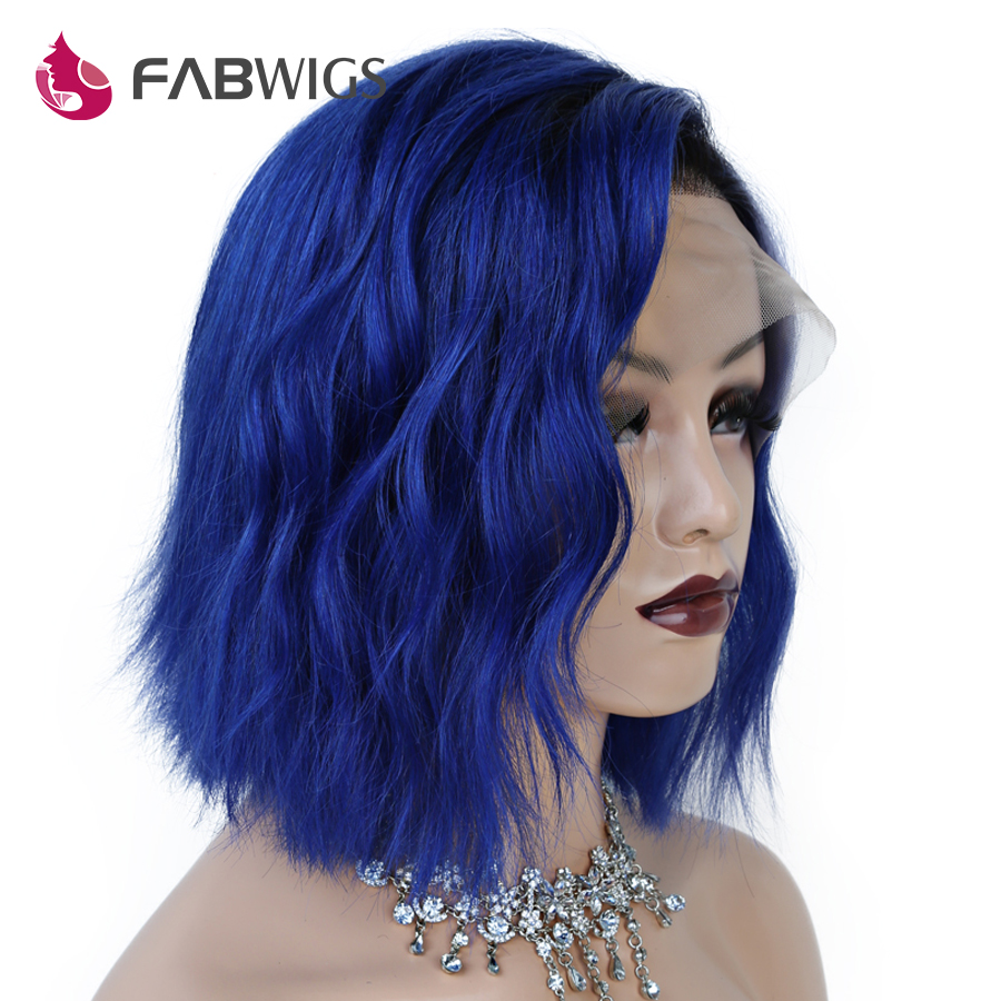 Fabwigs 13x4 Lace Front Human Hair Wigs Ombre 1B Blue Short Human Hair Wigs with Baby