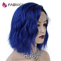 Fabwigs 13x4 Синтетические волосы на кружеве человеческих волос парики Ombre 1B/синий Короткие парики человеческих волос с для волос бразильский Во