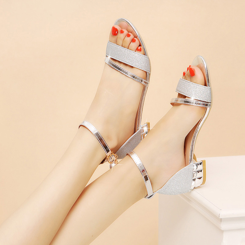 Womens Ladies Sandals Mid Block Wedge Heels Summer Party Ankle Strap Shoes Size
