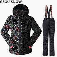 Gsou снег для женщин лыжный костюмы Зимние Сноубординг куртки и брюки для девочек ветрозащитный водостойкий Красочные женский спорт на
