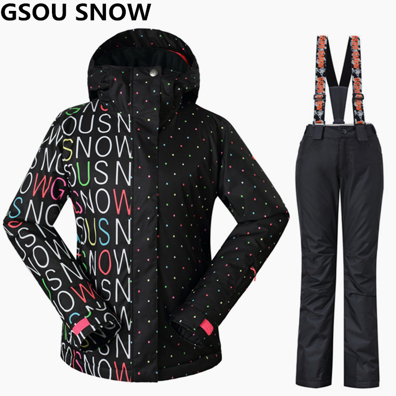 Gsou Snow Women Ski Suits Winter Snowboarding Jackets and Pants Windproof Waterproof Colorful Female Outdoor Sports