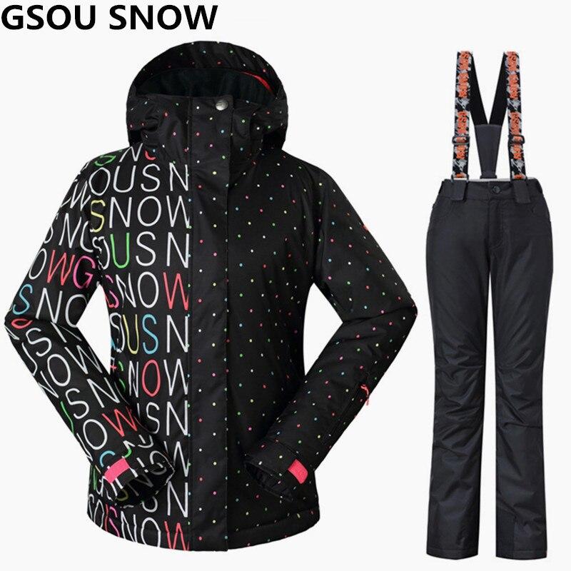 Gsou nieve esquí Trajes invierno Chaquetas DE SNOWBOARD Y Pantalones viento impermeable colorido femenino deportes al aire libre esquí Sets