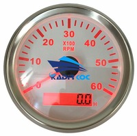 Pack of 1 0 6000RPM Auto Tachometers 85mm LCD Marine Rev Counters with Red Backlight Waterproof Revolution Gauges 9 32VDC