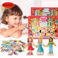 63 stücke Set Holz Magnetische Mädchen Kleid Ändern Dressing Jigsaw Educational Puzzle Spielzeug Kinder Pretend Spielen Machen Up Spielzeug Set
