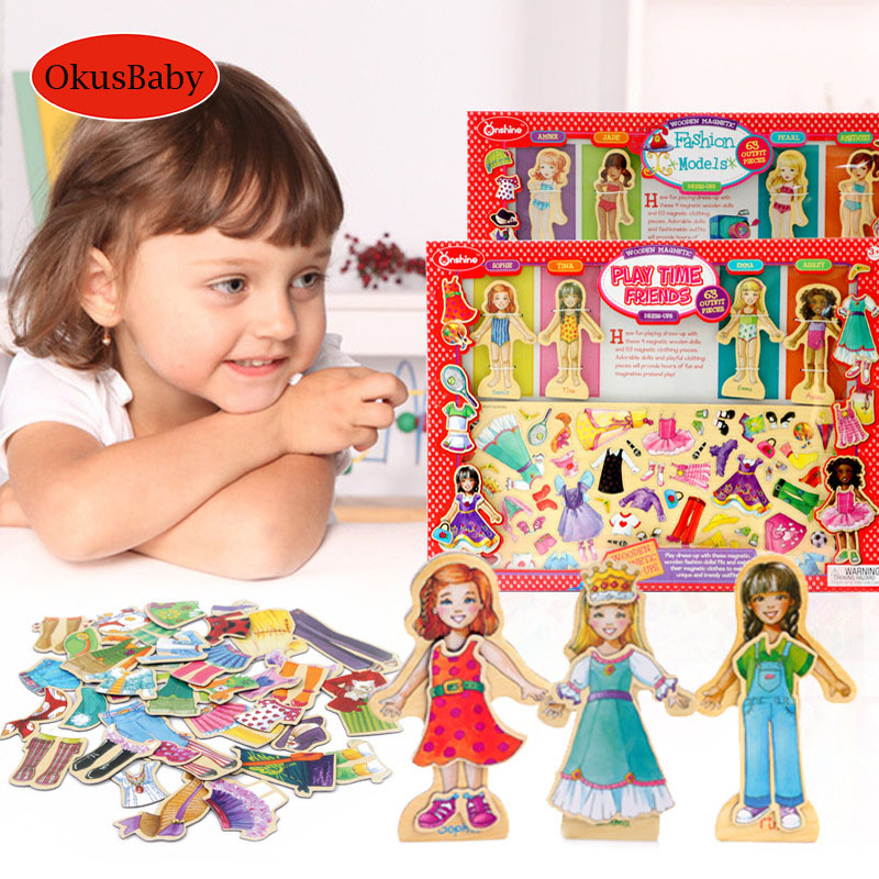 63pcs Set Wood Magnetic Girls Dress Changing Dressing Jigsaw Educational Puzzle Toys Children Pretend Play Make Up Toys Set