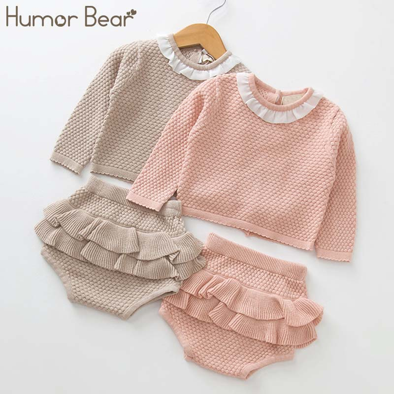 Humor Bear Knit Sweater+Shorts Sets of Children Baby Clohting Set 2018 Autumn Baby Girls Full Sweater Suits цена