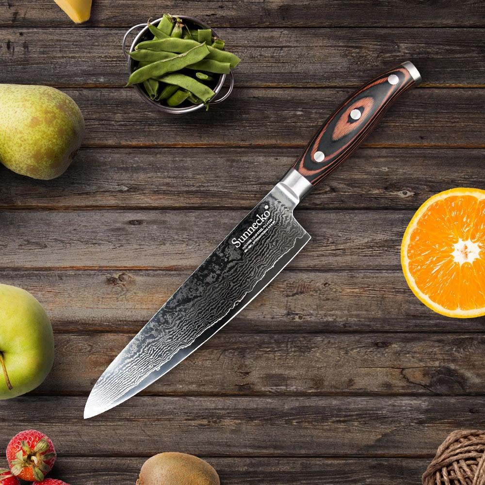 Sunnecko 8 chef couteau rasoir japonais vg10 lame en - Couteaux de cuisine japonais ...