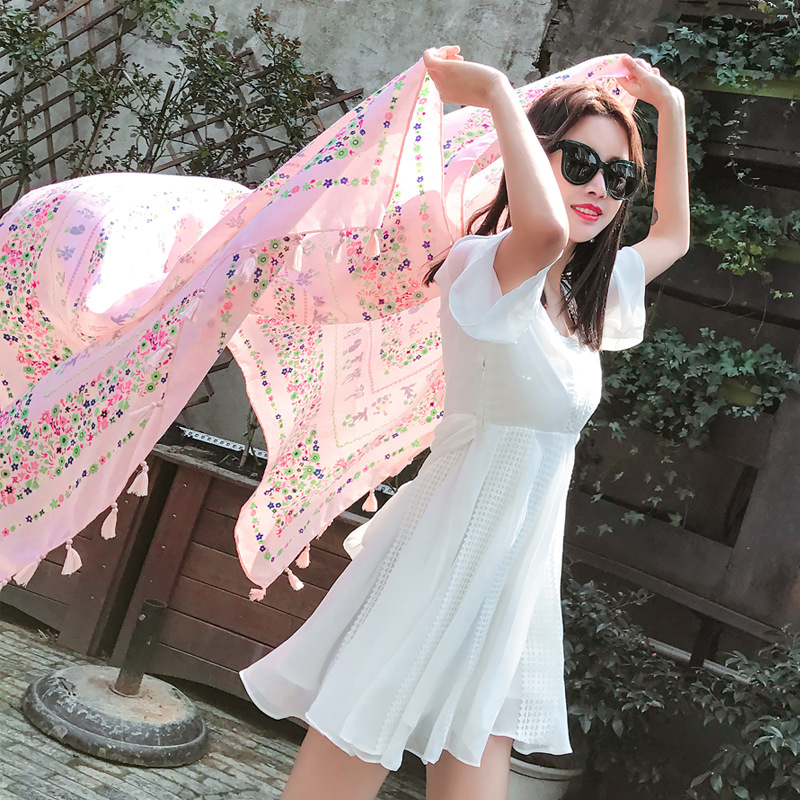 Large Size Beach Woman Scarfs Elegant Floral Scarf Blanket Scarves Womens Cotton Flower Shawls Ladies Tassels Rectangle Scarves