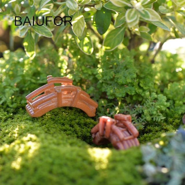 Baiufor resina de bambú Jardín de hadas miniatura puente figurines ...