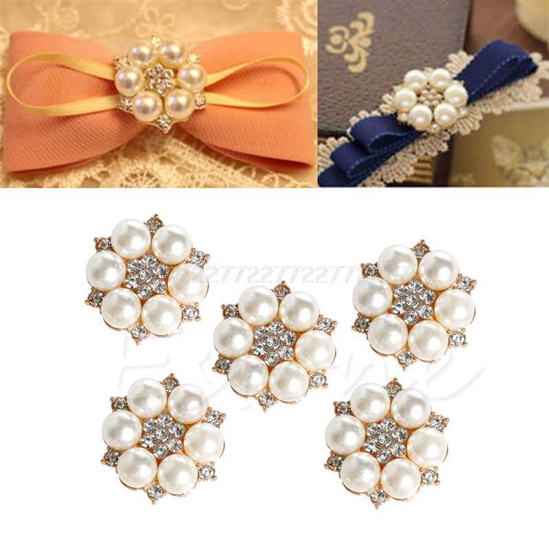 New 5Pc  Pearl Crystal Rhinestone Buttons Flower Round Cluster Flatback Wedding Embellishment Jewelry Craft New O26 dropship