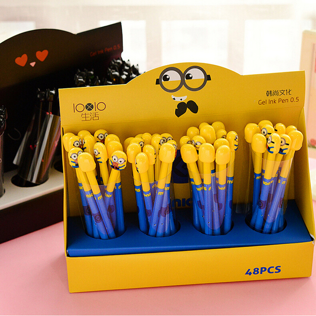 B42 4X Cute Kawaii Minions Gel Pen Stationery School Office Supplies Kids Gift Prize Rewarding Random