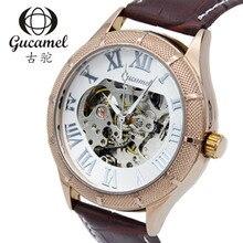 Gucamel 2016 Горячий Продавать Роскошные Мужчины Часы Автоматическая Скелет Часы Механические Часы Кожаный Ремешок Наручные Часы RelojesHombre