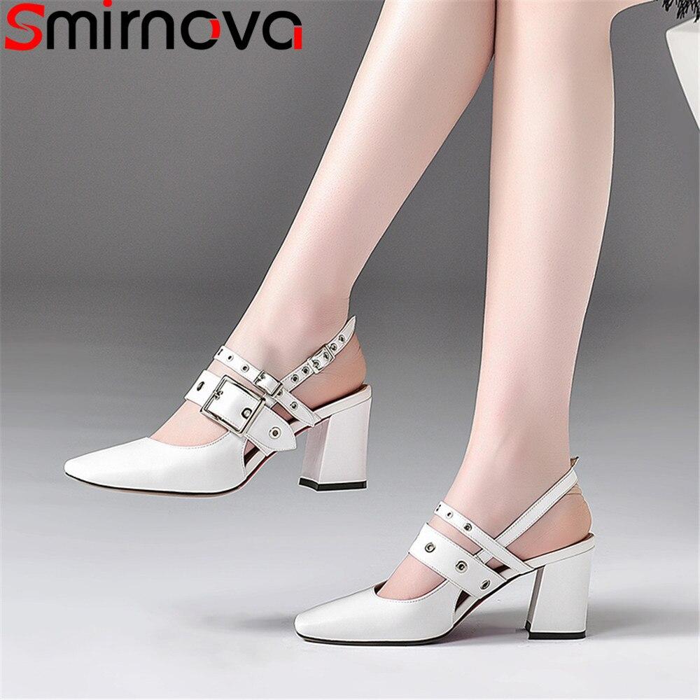 Smirnova black white summer shoes woman square toe buckle elegant prom wedding shoes sandals women genuine
