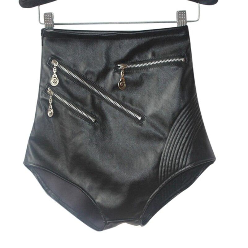 Faux Leather Shorts Women Sexy Black Shorts High Waist Stage Performance Costume for Girls Fashion Nightclub Mini Shorts