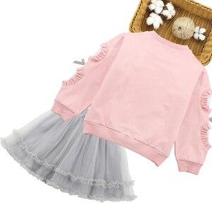 Image 2 - Girls Sets Lace Sleeve Sweatshirt + Mesh Skirt 2PCS Girls Clothes Sets Autumn Winter Children Girls Clothing Sets Christmas Gift