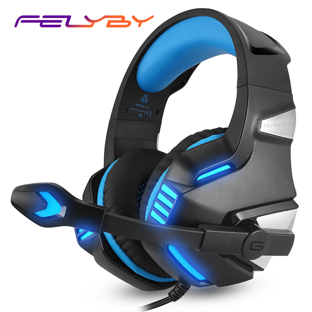 FELYBY Stereo Gaming Headset for PS4 Xbox One with Noise Isolating Mic & LED Light Headphone for Laptop PC Tablet iMac PSP
