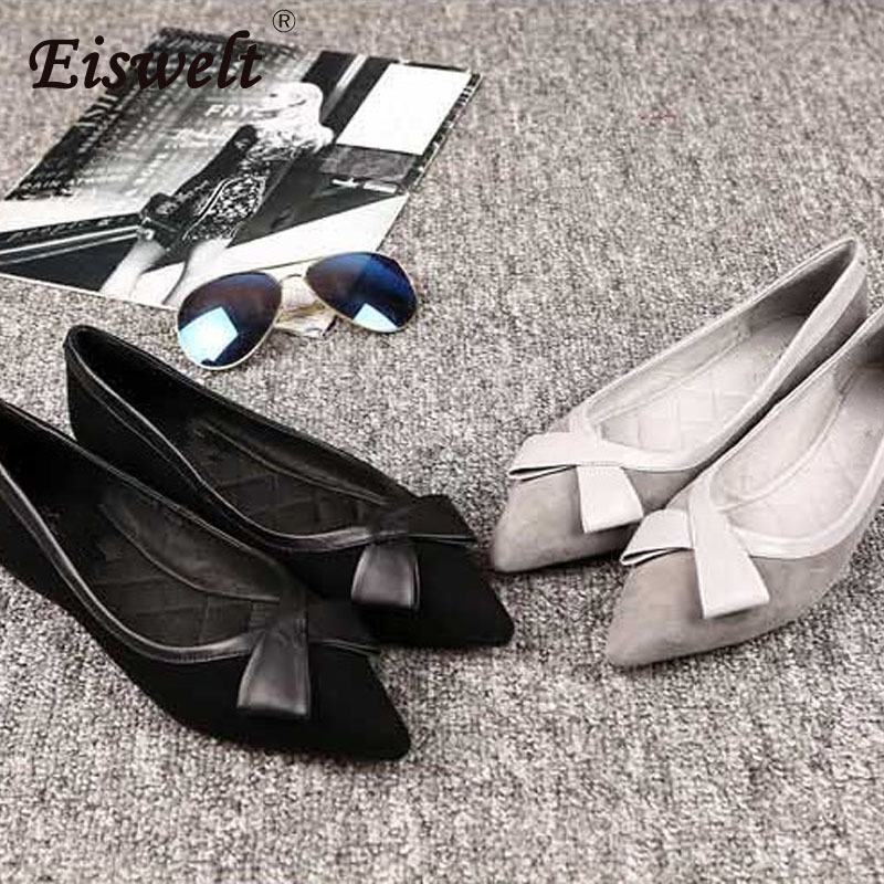 EISWELT New Arrival Patent Leather Flat Women Ballet Flats Shoes Women Plus Size 40 Black Square Toe Bowtie Shoes Black for Lady women in the summer of 2018 the new patent leather nude wedges pointed toe pump work shoes leisure women plus size 35 40 a23