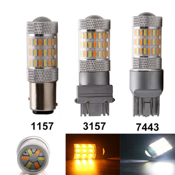 10pcs HOT SALE 1157 3157 7443 Dual Color White Amber 60 SMD 4014 LED Auto DRL light Car LED Turn Signal Light switchback DC12V